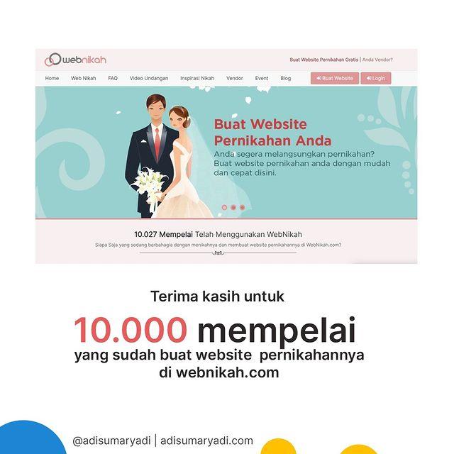 Terima kasih untuk 10.000 mempelai yang sudah menggunakan Webnikah.com sebagai bagian dari bahagia anda, semoga menjadi keluarga yang bahagia, sakinah, mawaddah warahmah.  . #webnikah #undanganpernikahan #websitepernikahan #undangandigital