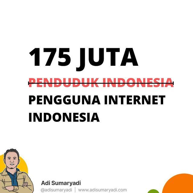 Dulu Rhoma Irama bilang bahwa penduduk Indonesia adalah 175 Juta. Sekarang 175 juta adalah Pengguna Internet Indonesia, tapi sayangnya pemerataan infrastruktur Internet belum merata, Terlalu. . . #indonesia #statistik #digitalmarketing #internet #marketing #instagood #instagram #business #entrepreneur #smallbusiness #entrepreneurship #socialmediamarketing #branding #socialmedia #webdesign #marketingtips #contentmarketing #marketingstrategy #onlinebusiness #businesstips #instagrammarketing