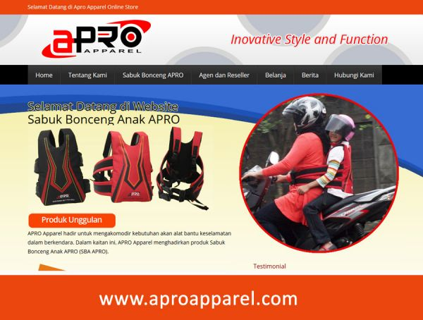 Website Sabuk Bonceng AproApparel